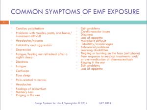 EMF Common Symptoms of EMF Exposure Slide